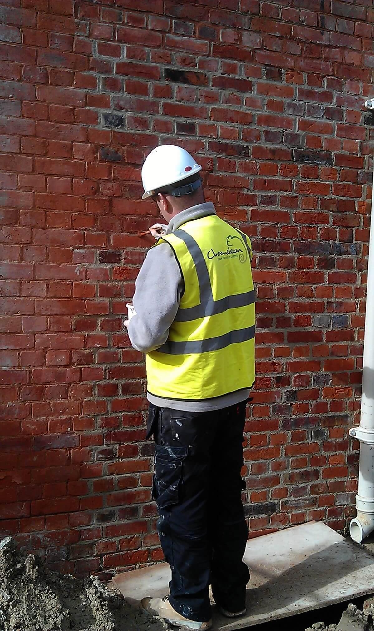 Chameleon Brick Tinting Work in Progress Brick Dyeing Southampton South England